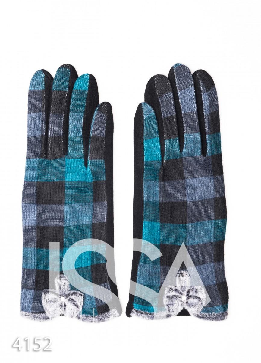 Бирюзовые клетчатые перчатки с меховыми бантиками