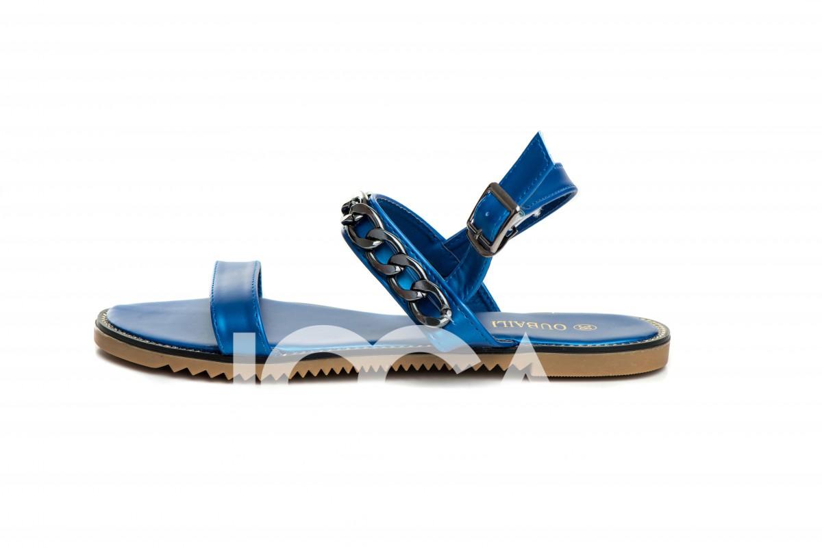 Босоножки синего цвета металлик с широкой цепью