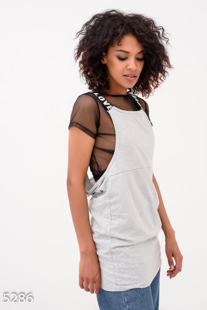 83a9d7c3ef2 Серое платье-туника с нижней футболкой из черной стрейч-сетки  375 грн.