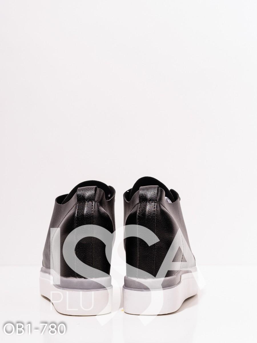 Черные сникеры из эко-кожи с белой платформой