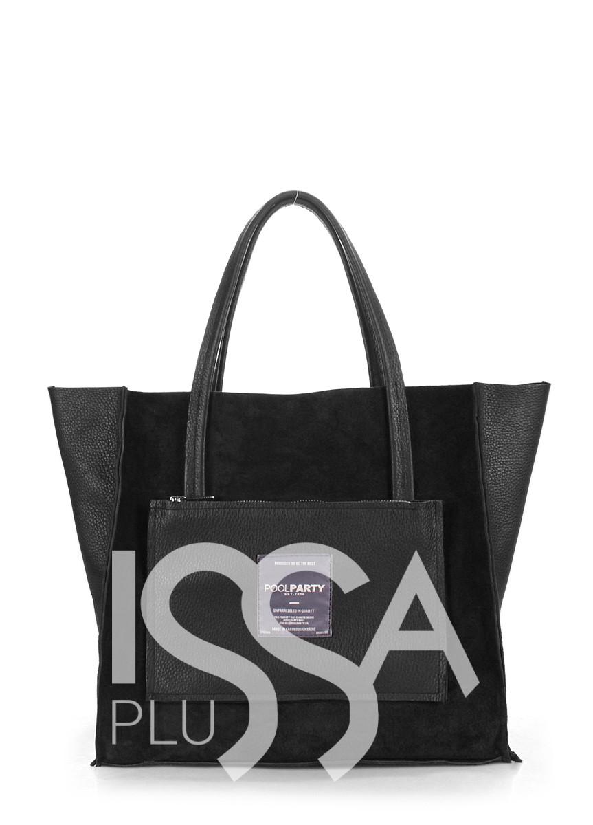 Замшевая черная сумочка Soho с втавками из натуральной кожи