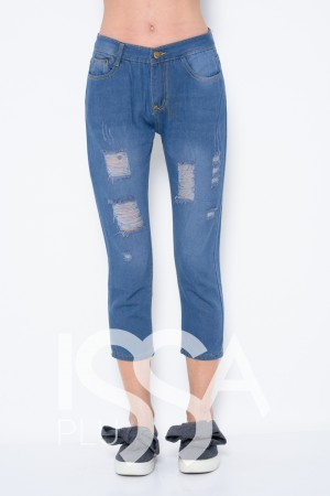 910ec90e3cd Синие укороченные джинсы с крупной перфорацией и анатомическими потертостями