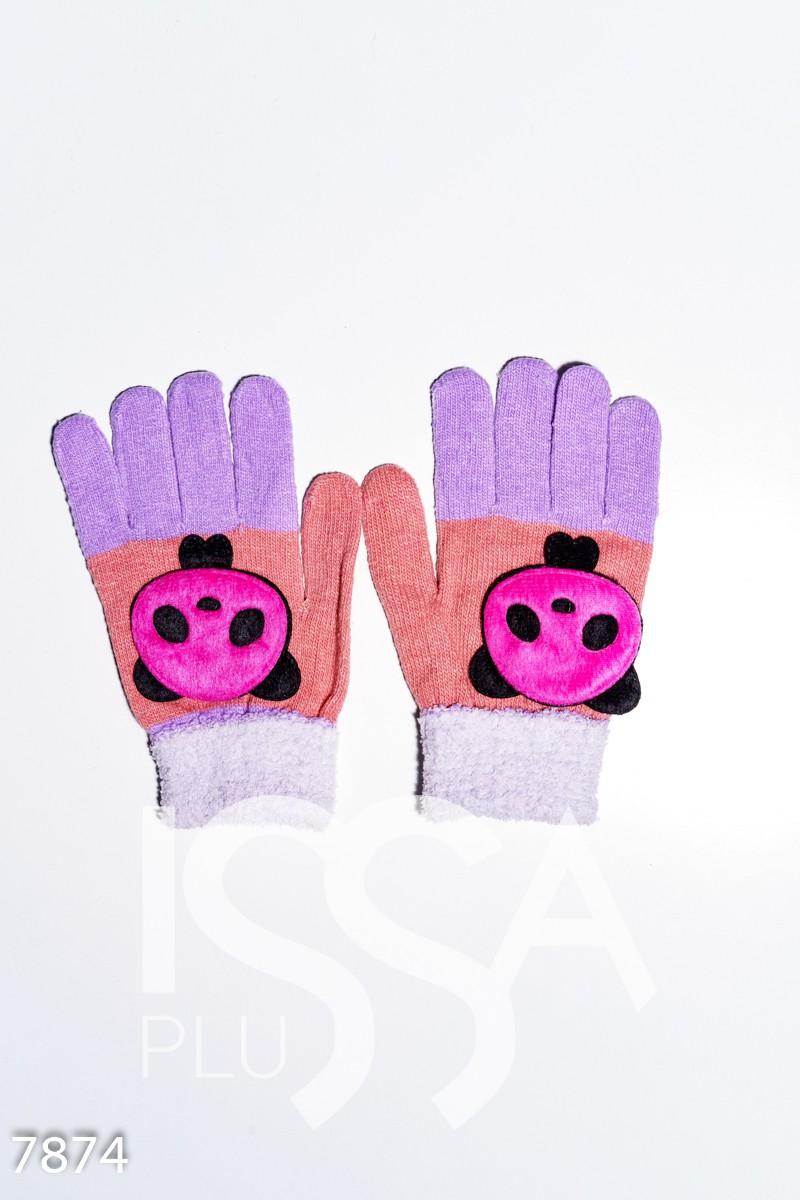 Персиково-сиреневые шерстяные однослойные перчатки с объемной аппликацией