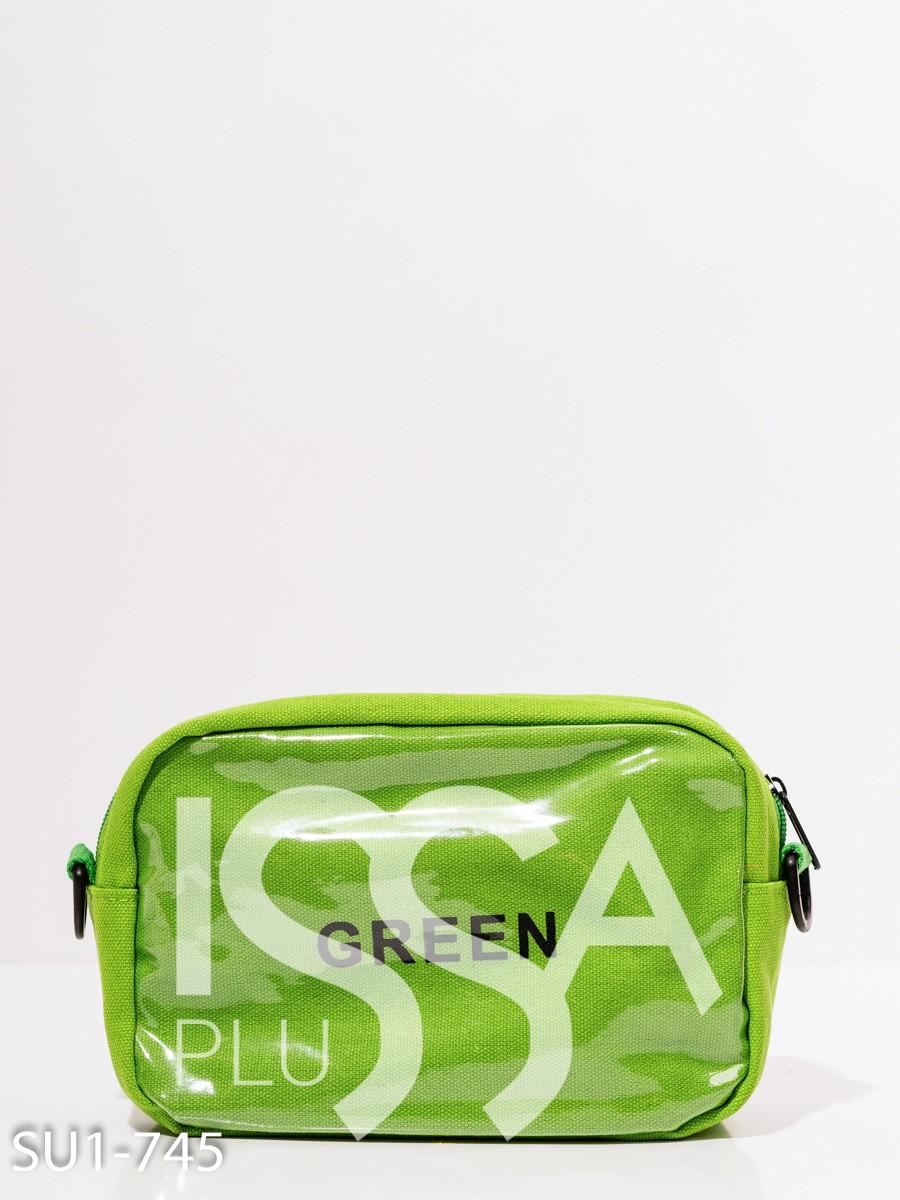 Зеленая поясная сумка с принтом и вставками