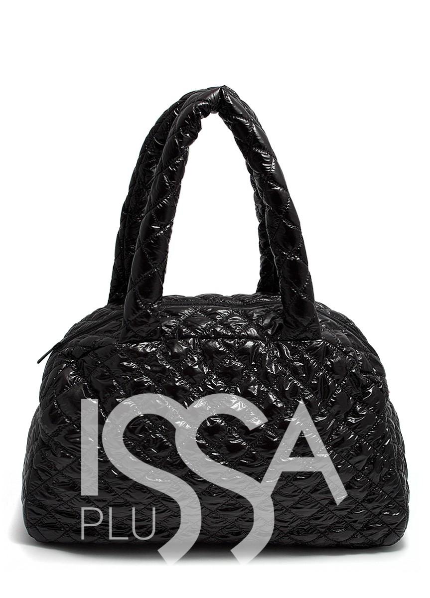 Черная Стеганая сумка-саквояж с лаковым покрытием
