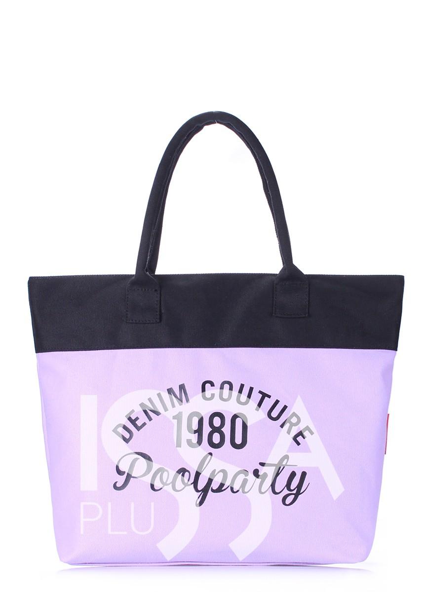 Коттоновая сумка Paradise сиренево-черная