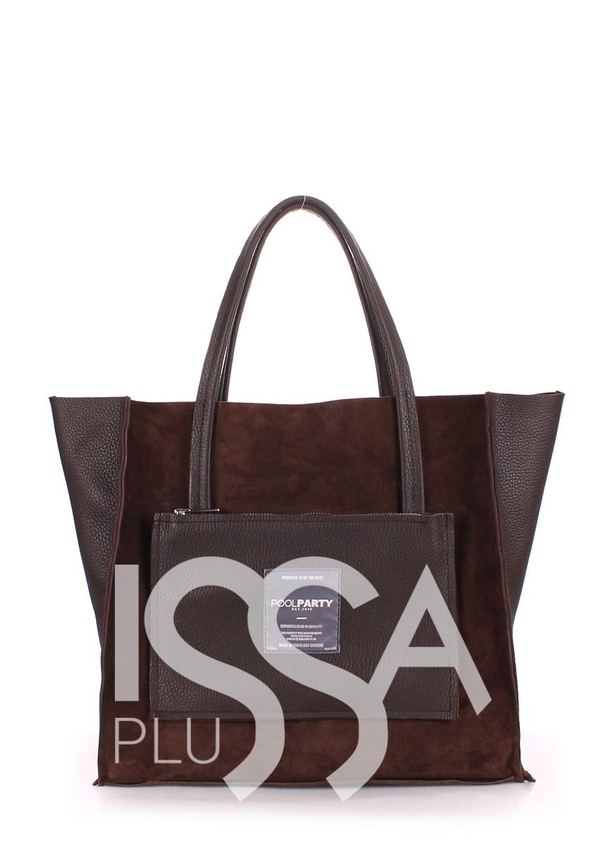 Замшевая коричневая сумочка Soho с втавками из натуральной кожи