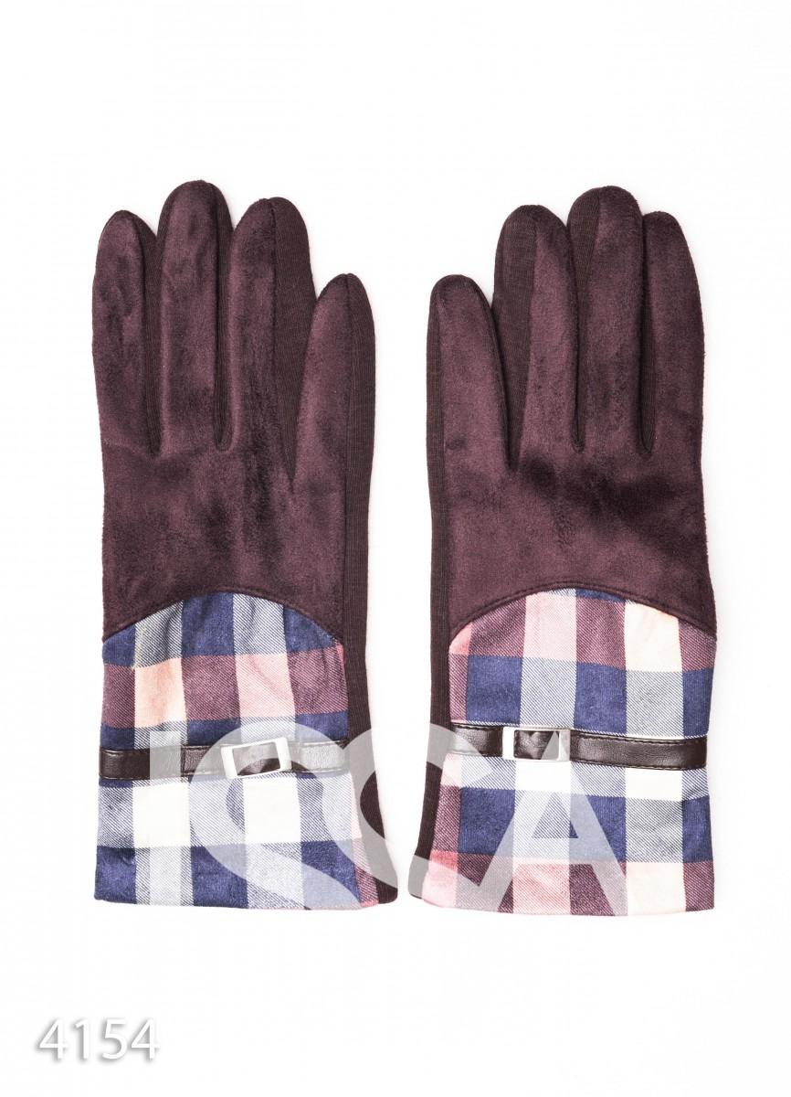 Коричневые комбинированные перчатки с замшей и клетчатой вставкой