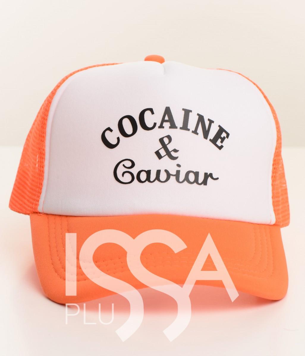Бейсболка Cocaine & Caviar с оранжевым козырьком и сеткой
