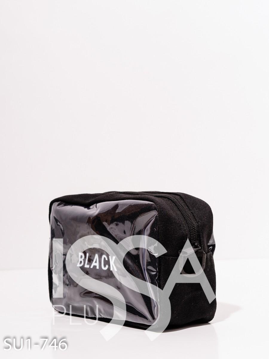 Черная поясная сумка с принтом и вставками
