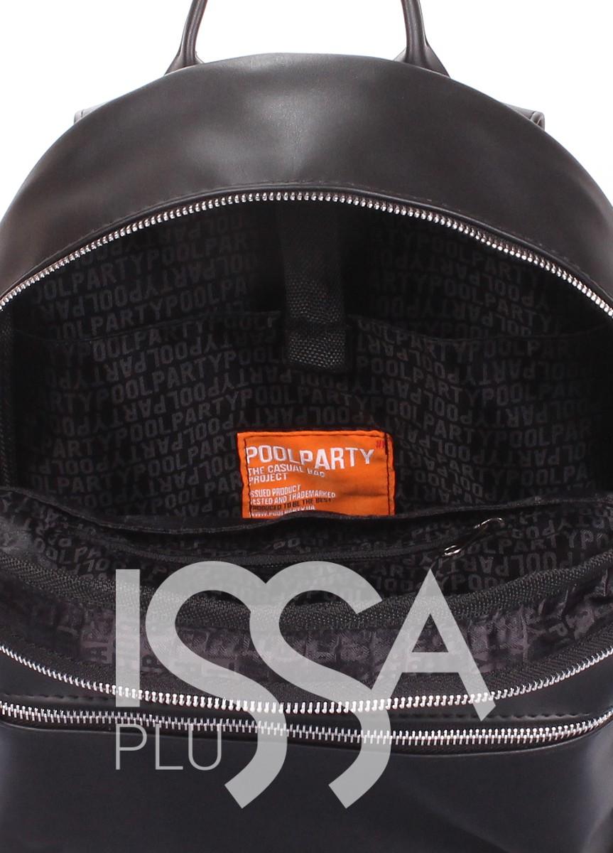 Черный рюкзак с аппликацией и вместительным карманом на молнии