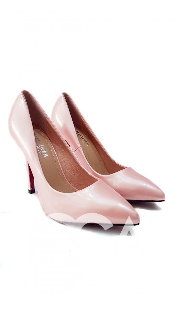 Розовые лаковые лодочки с острым носком и тонкой шпилькой