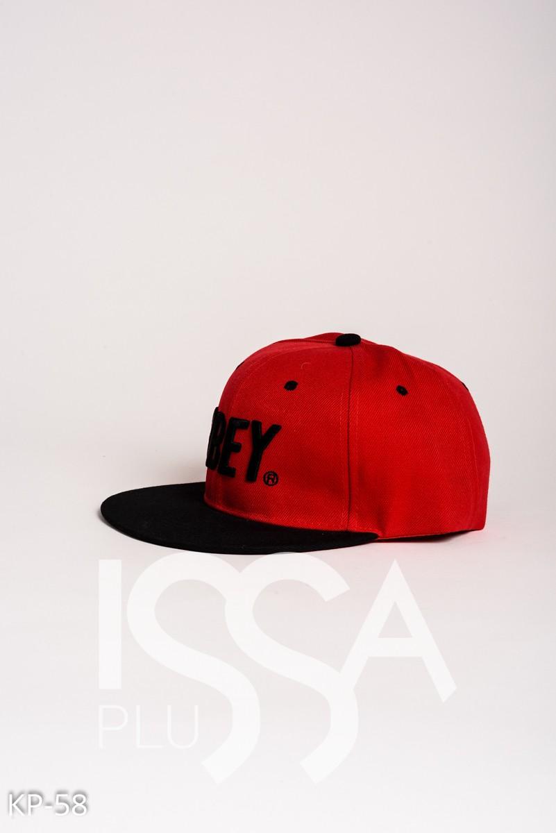 Красная кепка с вышивкой OBEY