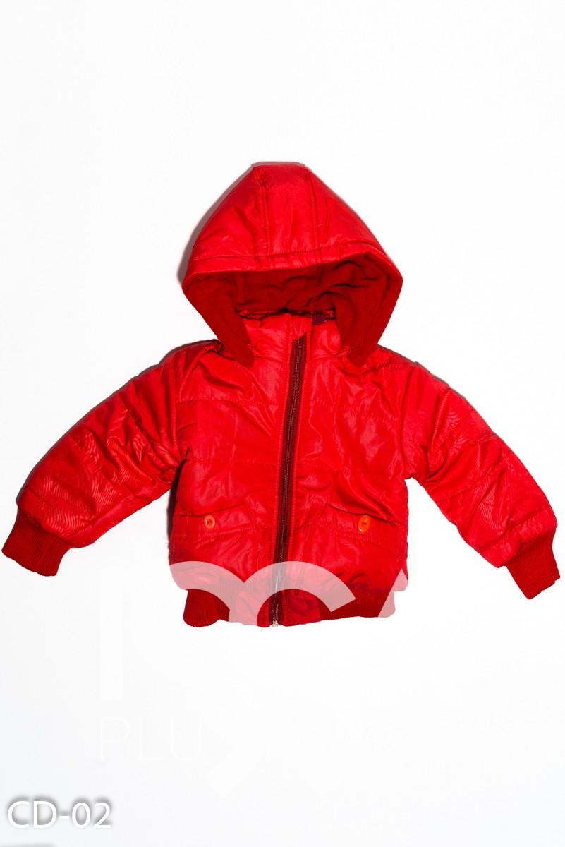 Красная теплая стеганая куртка на синтепоне с капюшоном и манжетами