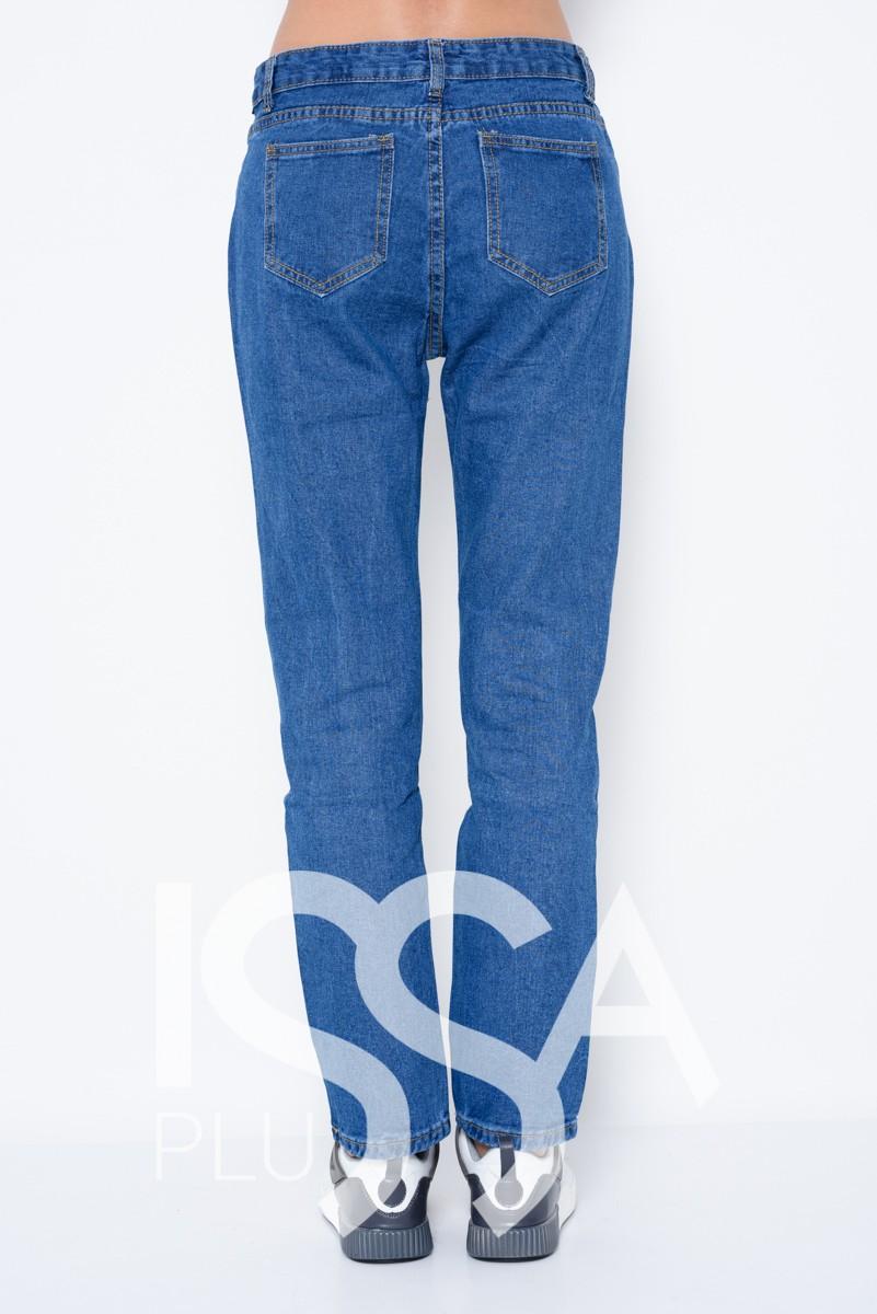 Синие прямые джинсы с крупной перфорацией