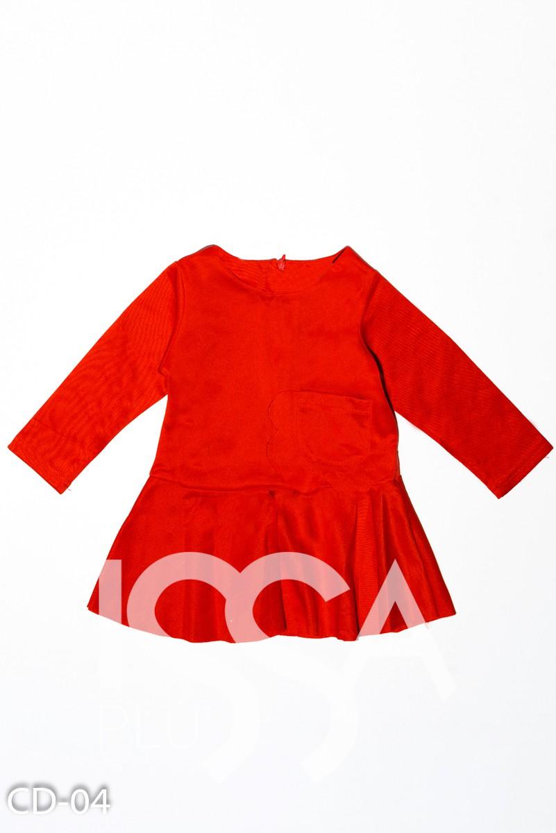 Красное однотонное платье с карманом и расклешенной юбочкой