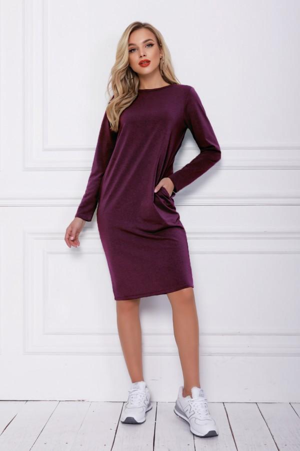 Фиолетовое трикотажное классическое платье