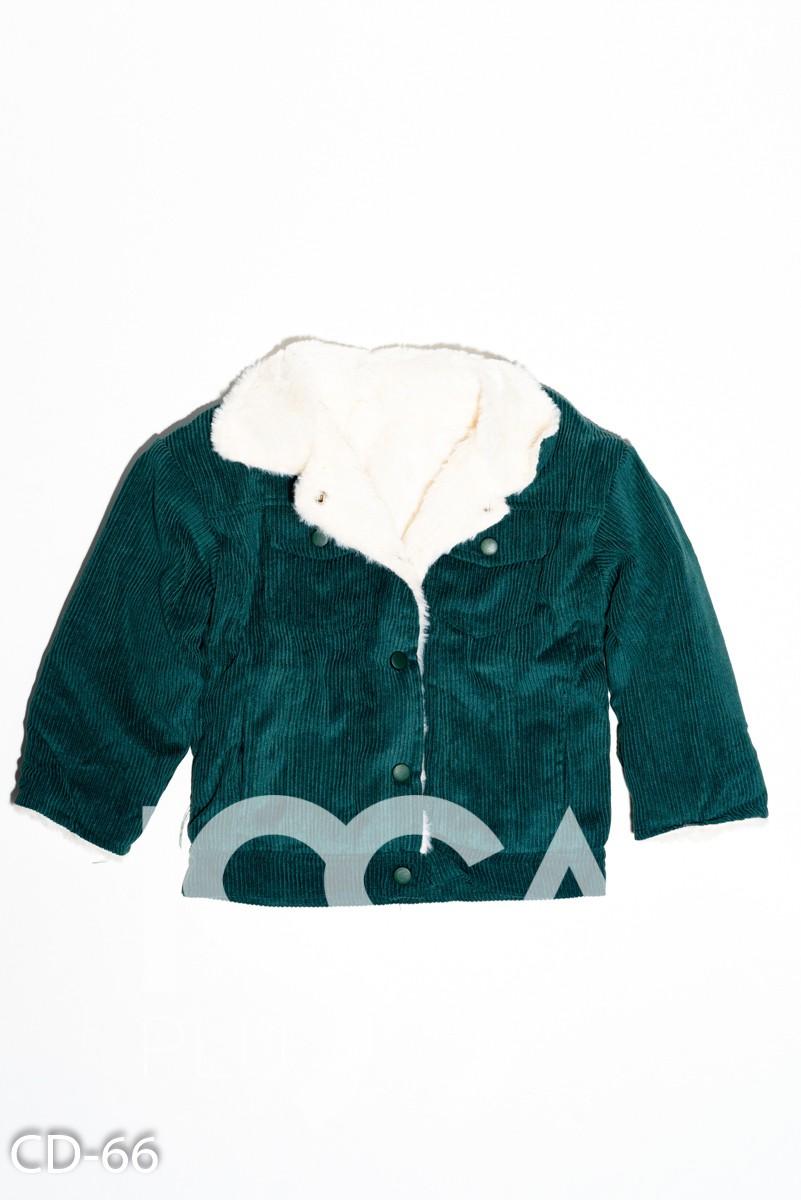 Зеленая вельветовая демисезонная  куртка на меху