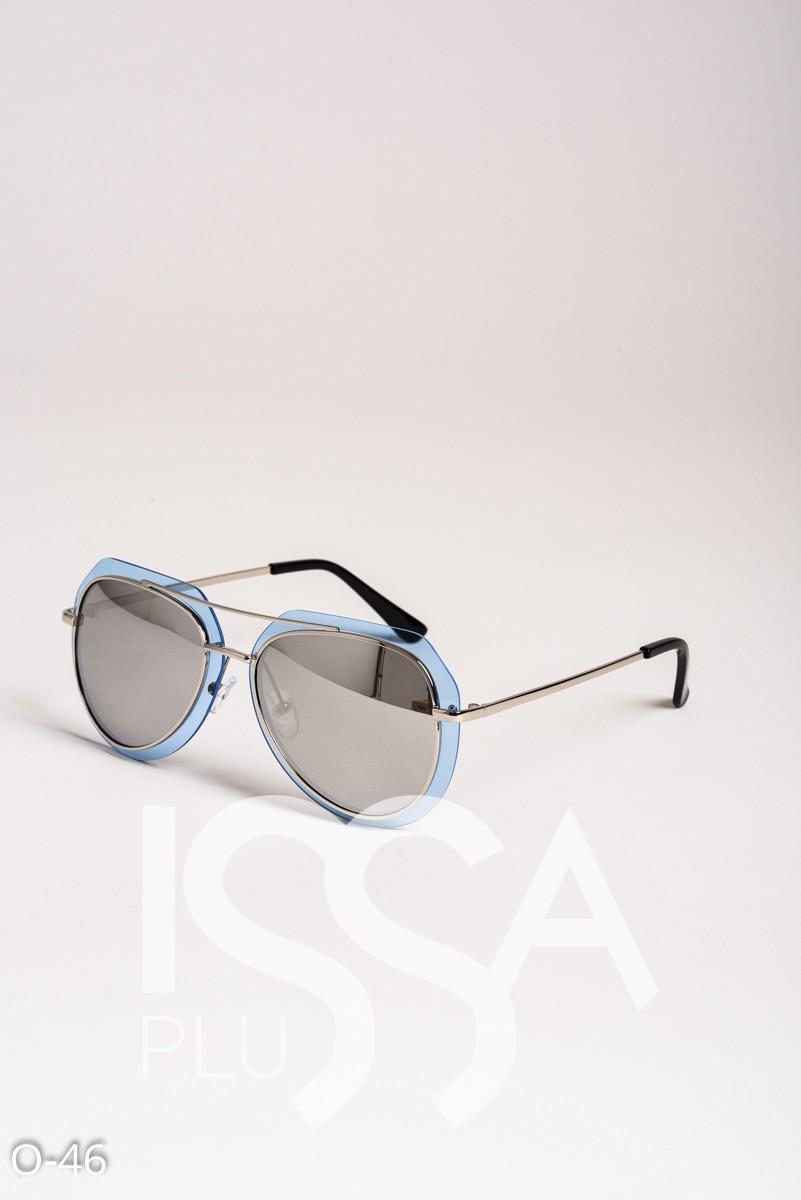 Серые очки-капельки в металлической оправе с комбинированными стеклами
