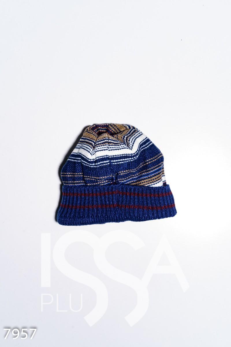Полосатая шапка на флисе с подворотом