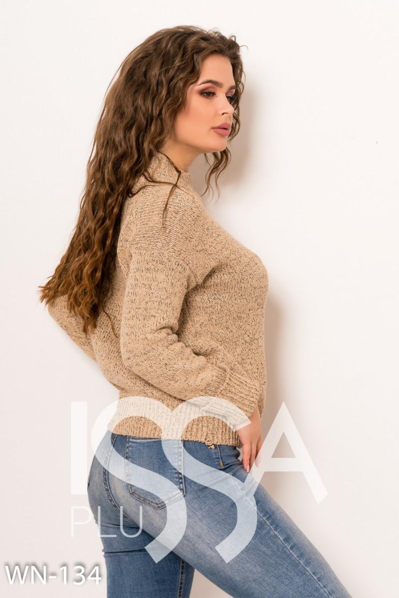 Бежевый шерстяной вязаный свитер с эластичными манжетами