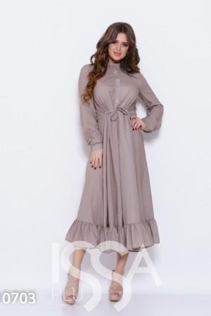 02a8e8d7e44 Бежевое в горошек длинное платье с кулиской на талии