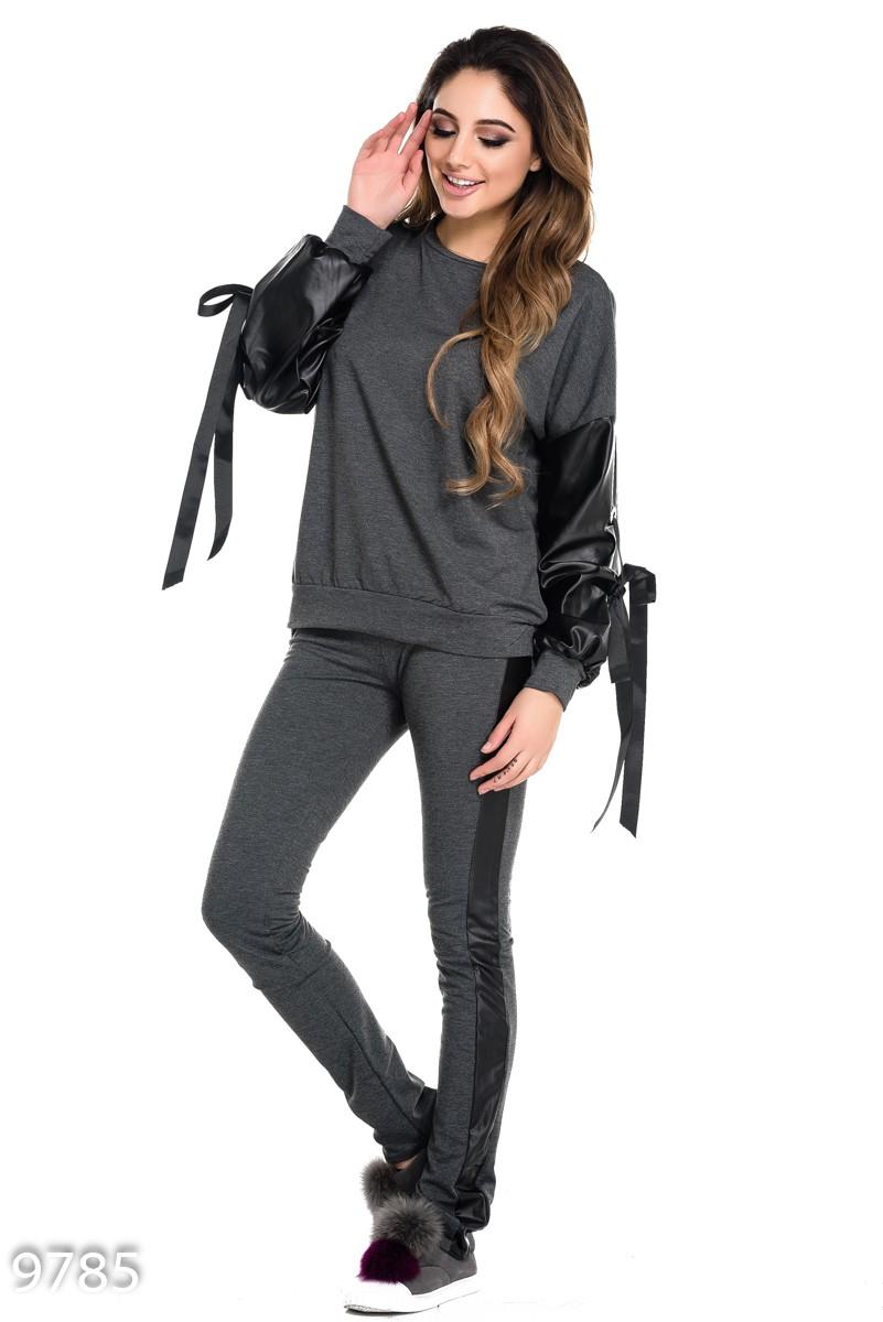 d8daf476293a ISSAPlus|Серый спортивный костюм со свободными кожаными рукавами и ...