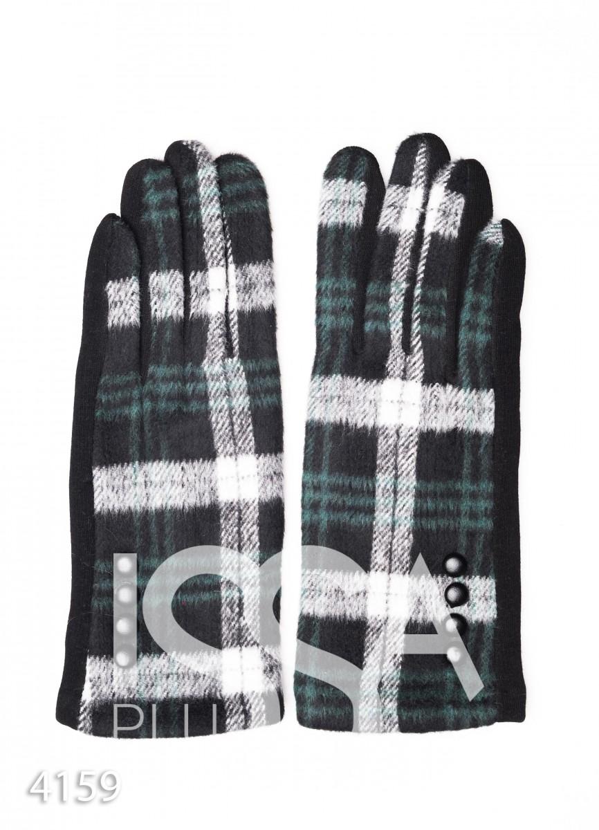 Зеленые комбинированные перчатки с клетчатой вставкой и рядом пуговок