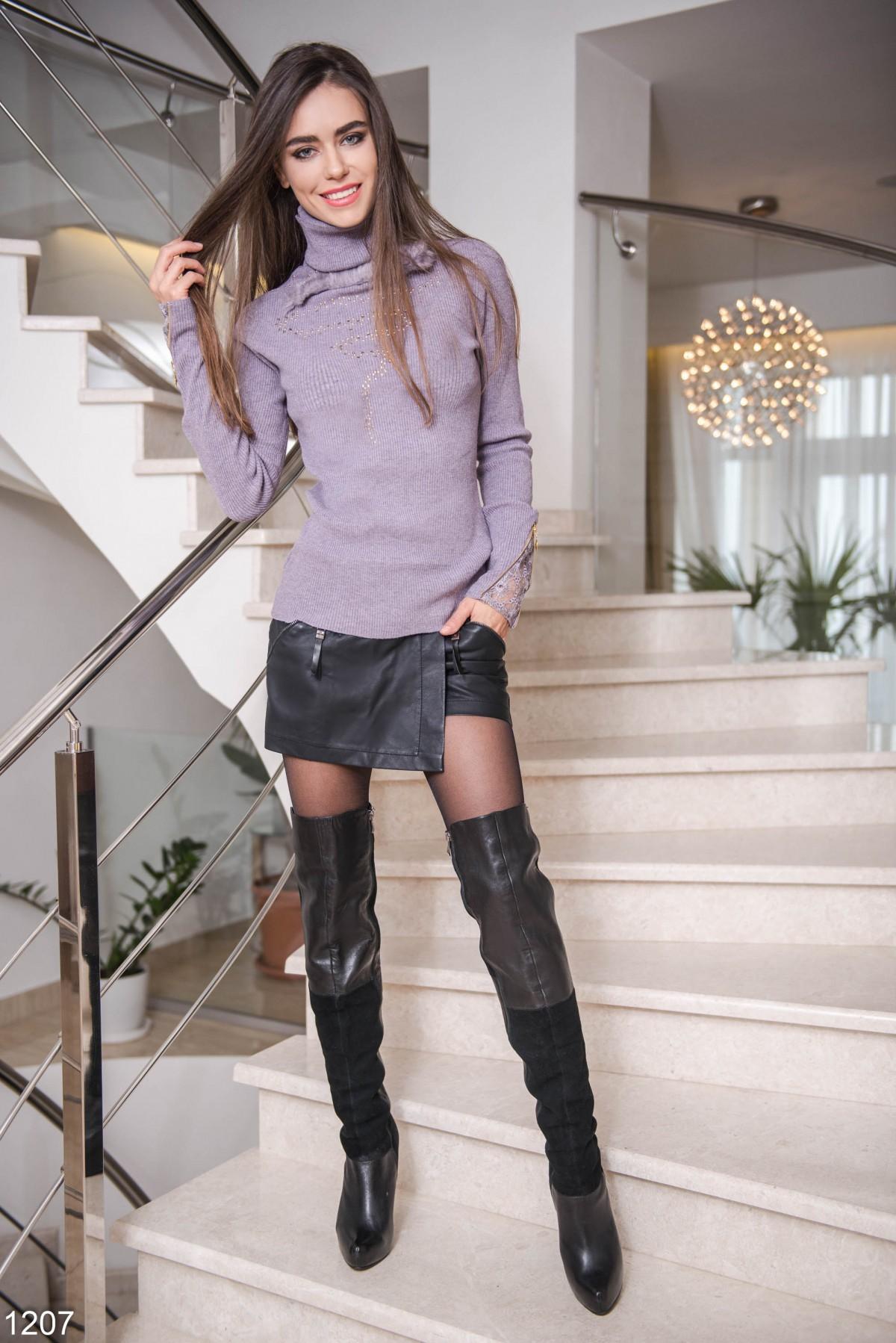 Кожаные юбка шорты