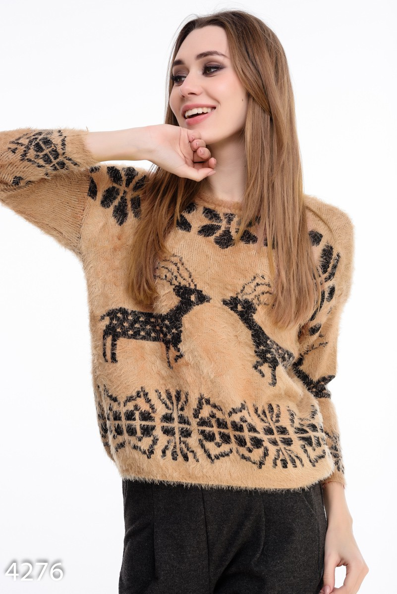 Коричневый свитер женский доставка