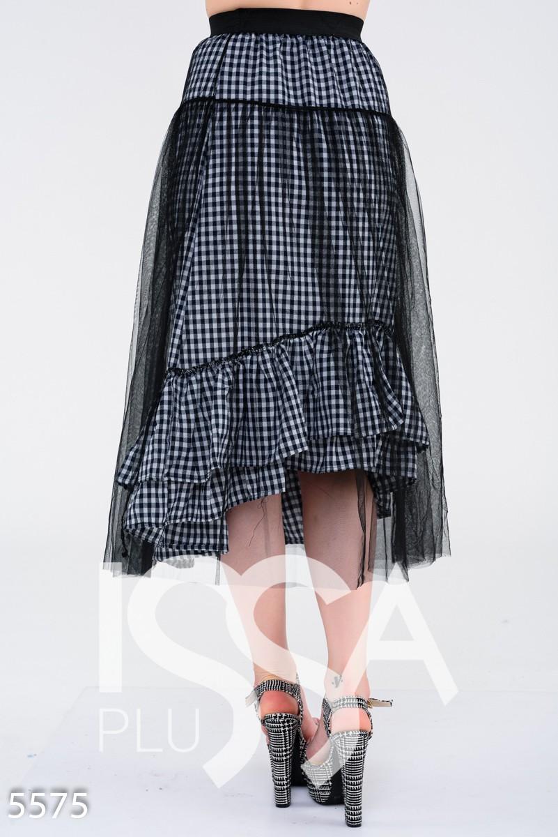 Синяя клетчатая юбка с верхним слоем из черного фатина