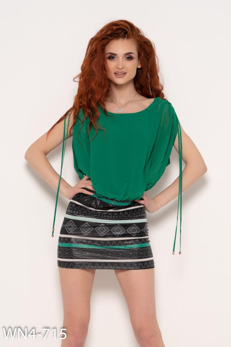 fc6c343ddab Зеленое платье без рукавов с яркой вставкой  171 грн. фото 2 ...