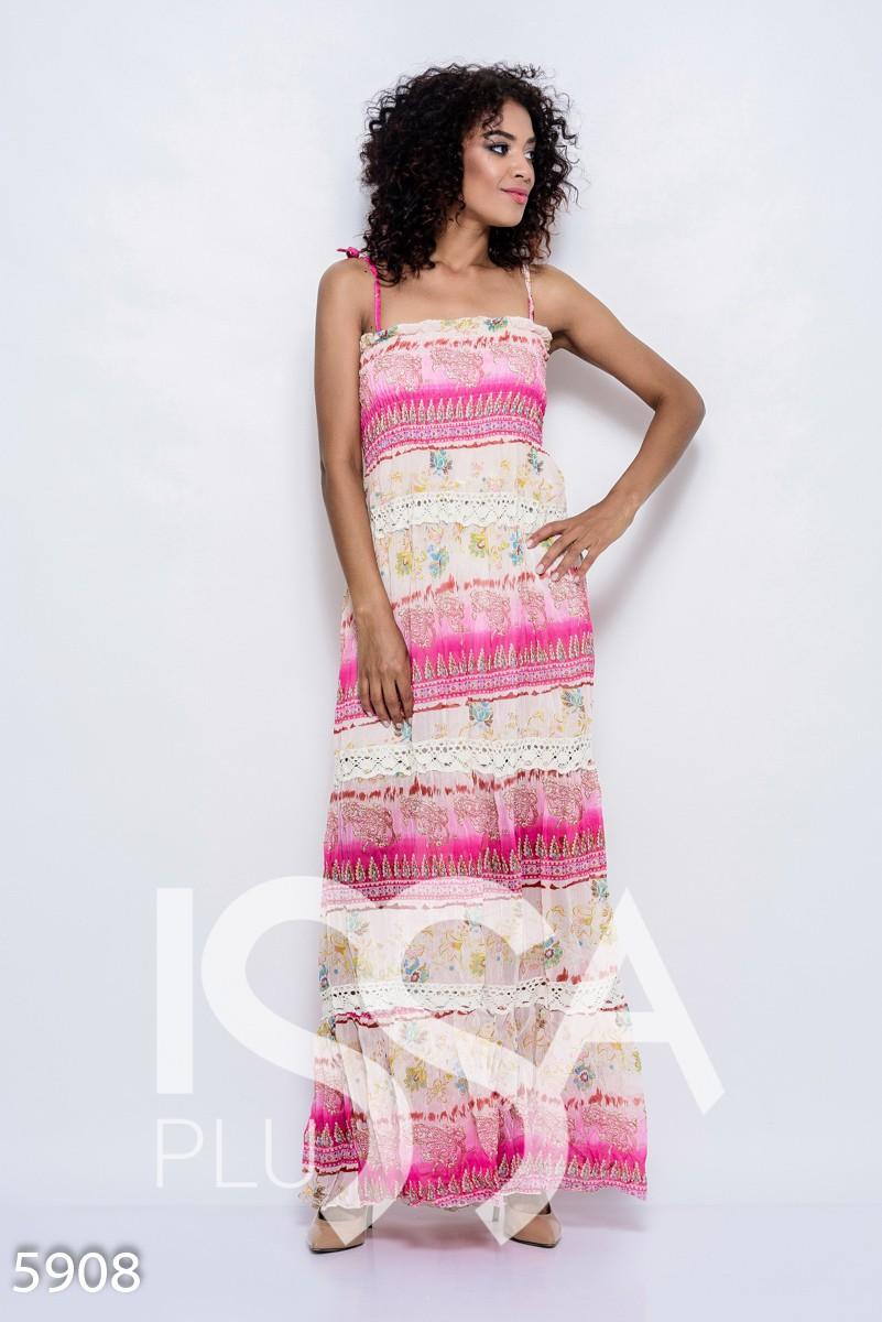 Воздушное платье-сарафан с жаткой в малиново-розовых цветах в пол с винтажным кружевом