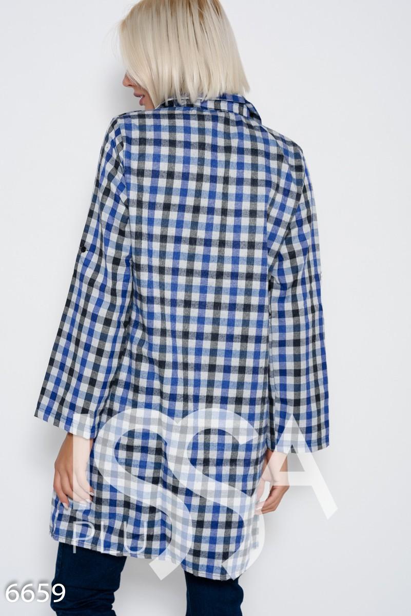 Серо-синее клетчатое платье из тонкой байки с регулируемыми хлястиками длинной рукавов