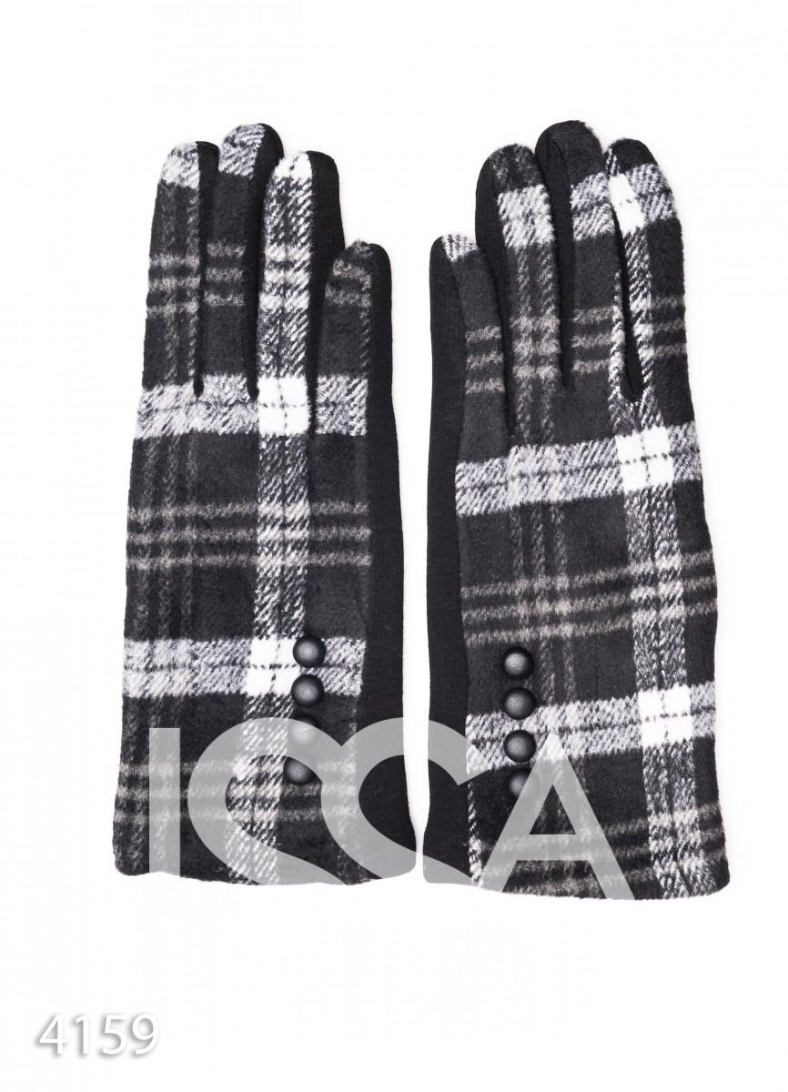 Черные комбинированные перчатки с клетчатой вставкой и рядом пуговок
