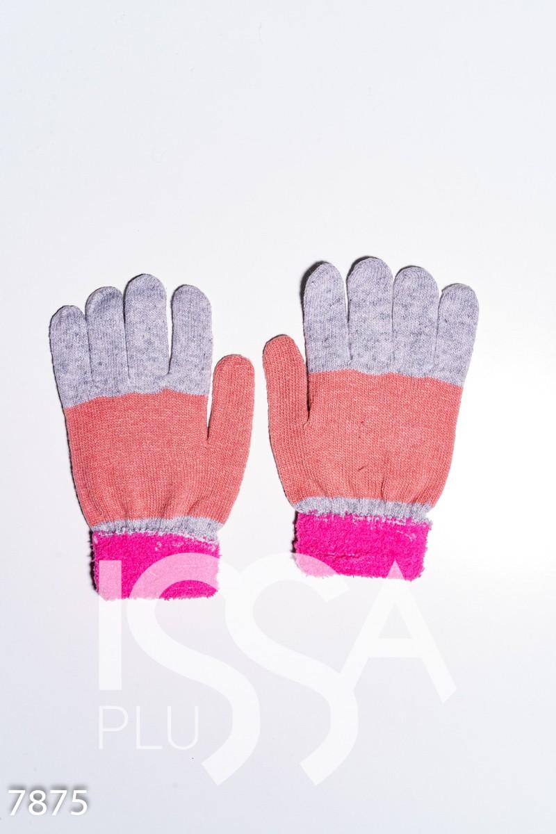 Серо-малиновые шерстяные однослойные перчатки с объемной аппликацией