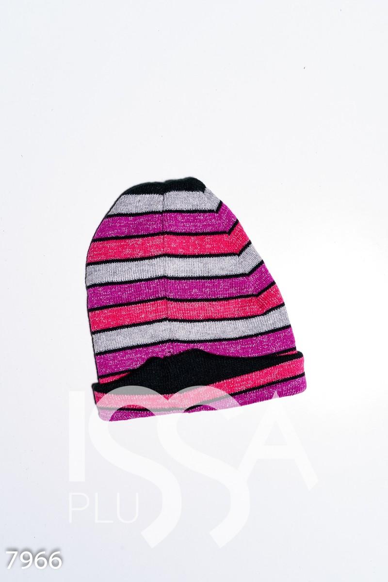 Демисезонная вязаная шапка с люрексом декорированная подворотом