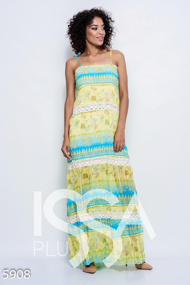 Воздушное платье-сарафан с жаткой в желто-голубых цветах в пол с винтажным кружевом