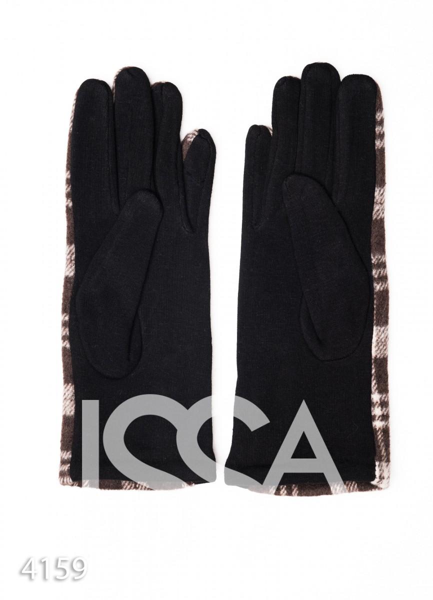 Коричневые комбинированные перчатки с клетчатой вставкой и рядом пуговок
