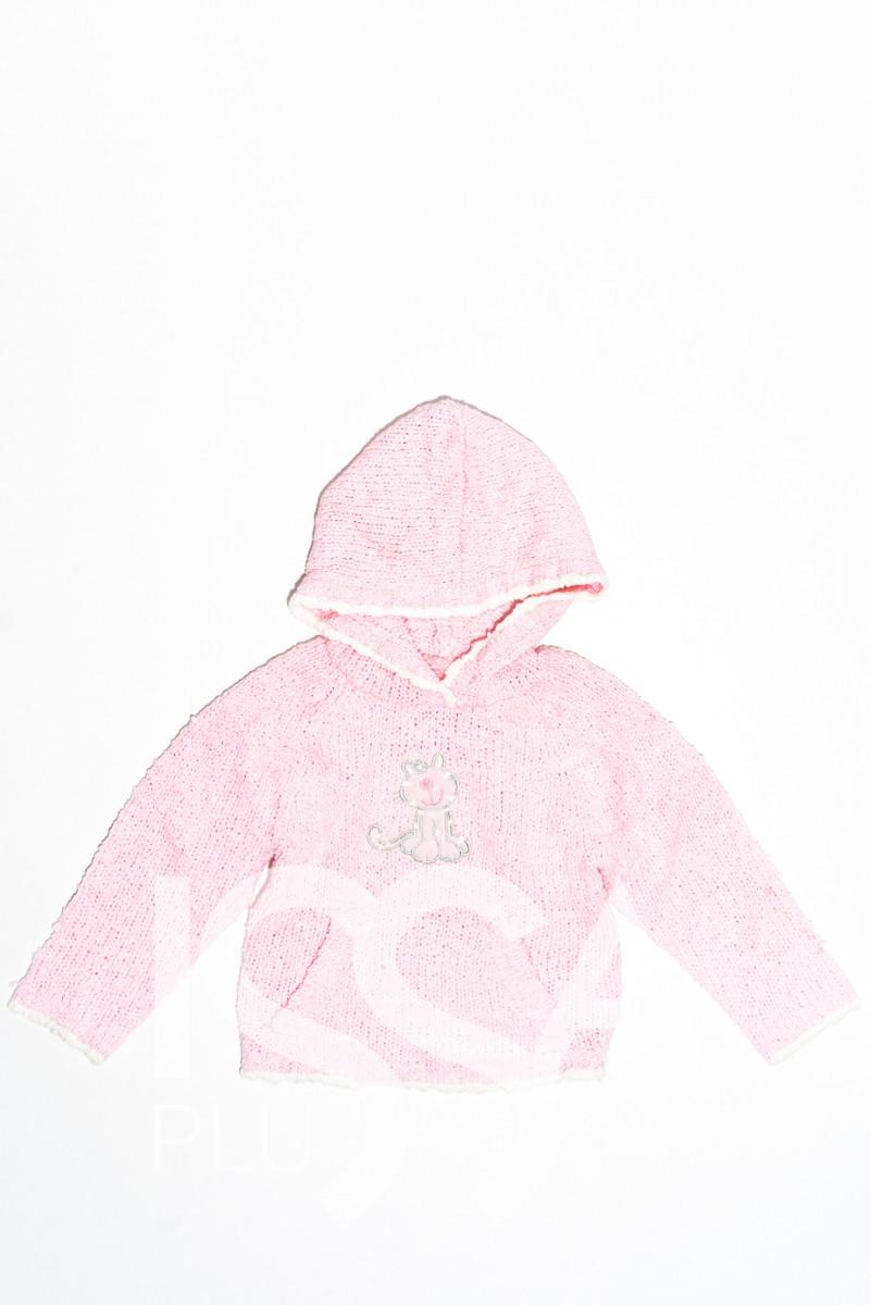 Розовая вязаная демисезоння толстовка с капюшоном и карманом