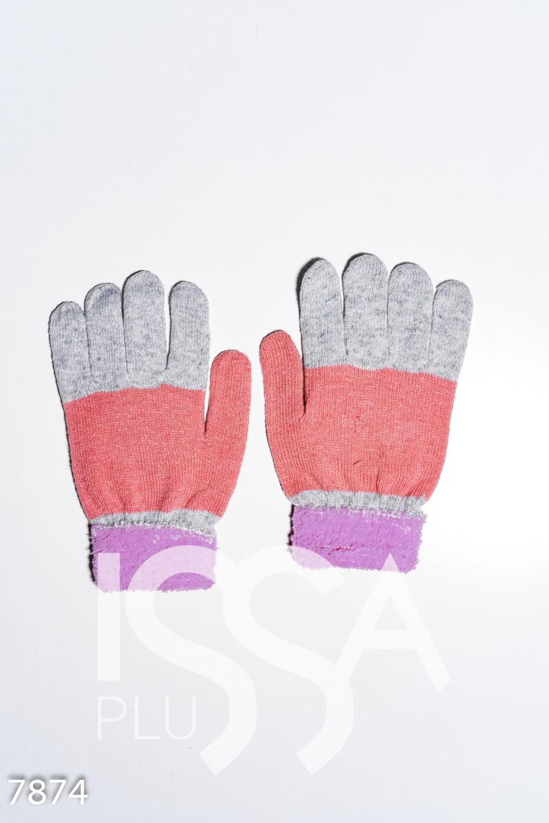 Сиренево-персиковые шерстяные однослойные перчатки с объемной аппликацией
