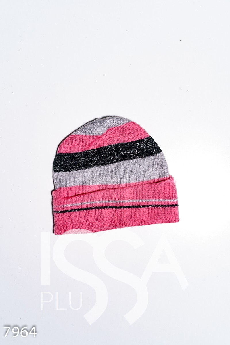 Демисезонная серо-розовая однослойная шапка с подворотом