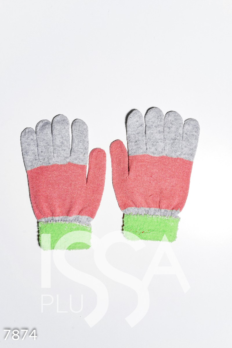 Салатово-серые шерстяные однослойные перчатки с объемной аппликацией