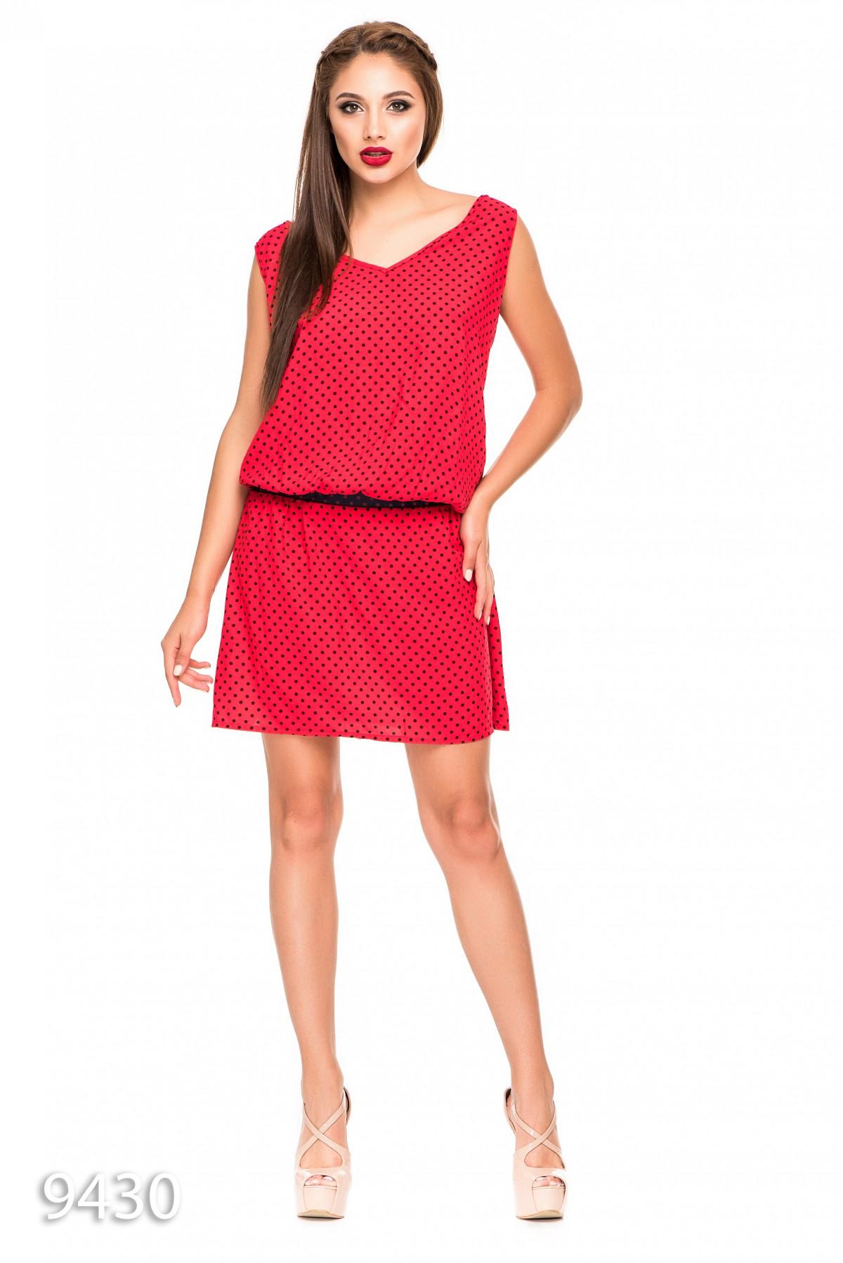 fdc8ace3df5549f Свободное красное платье в горошек без рукавов с заниженной талией: 276  грн. фото 2 ...