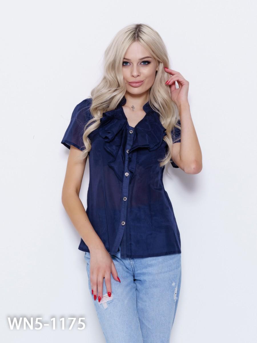 d7bf7ae0b4a Темно-синяя тонкая рубашка с воланами  249 грн. фото 2 ...
