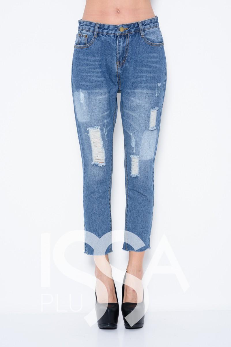 Синие джинсы бойфренды с грубым срезом, перфорацией и выбеленными местами