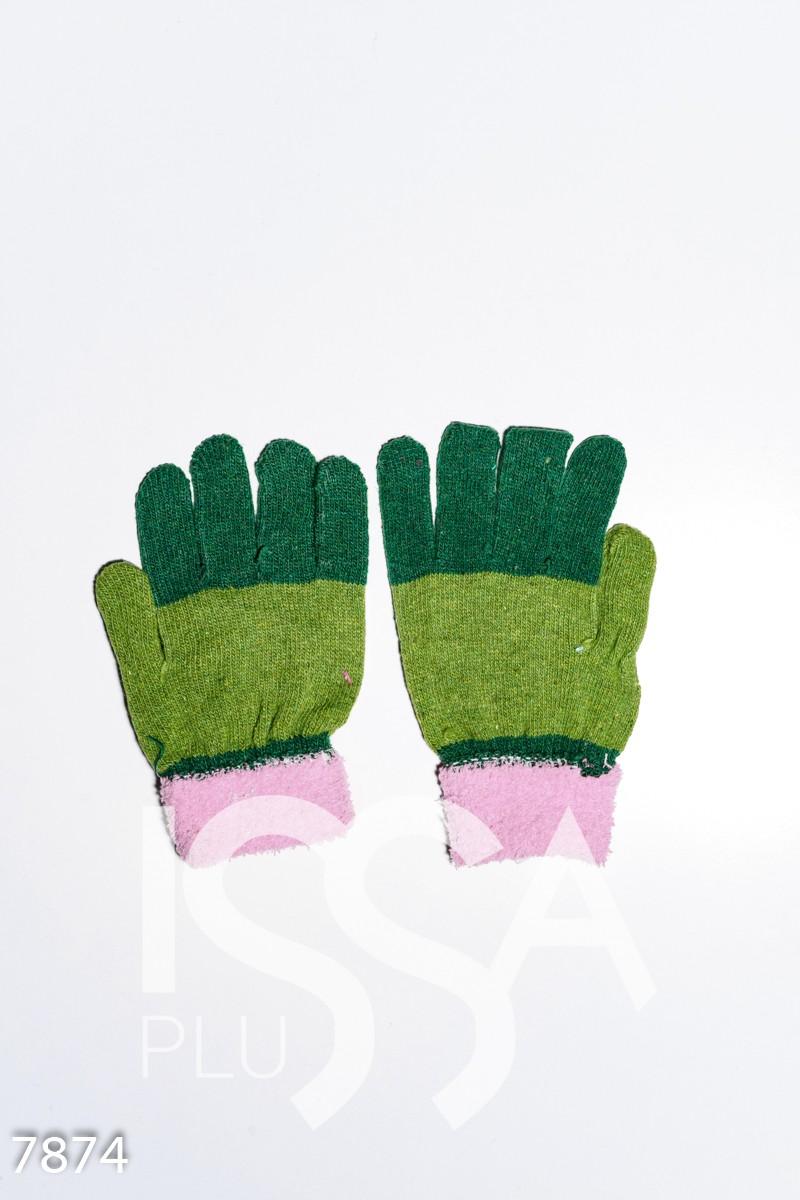 Зелено-розовые шерстяные однослойные перчатки с объемной аппликацией