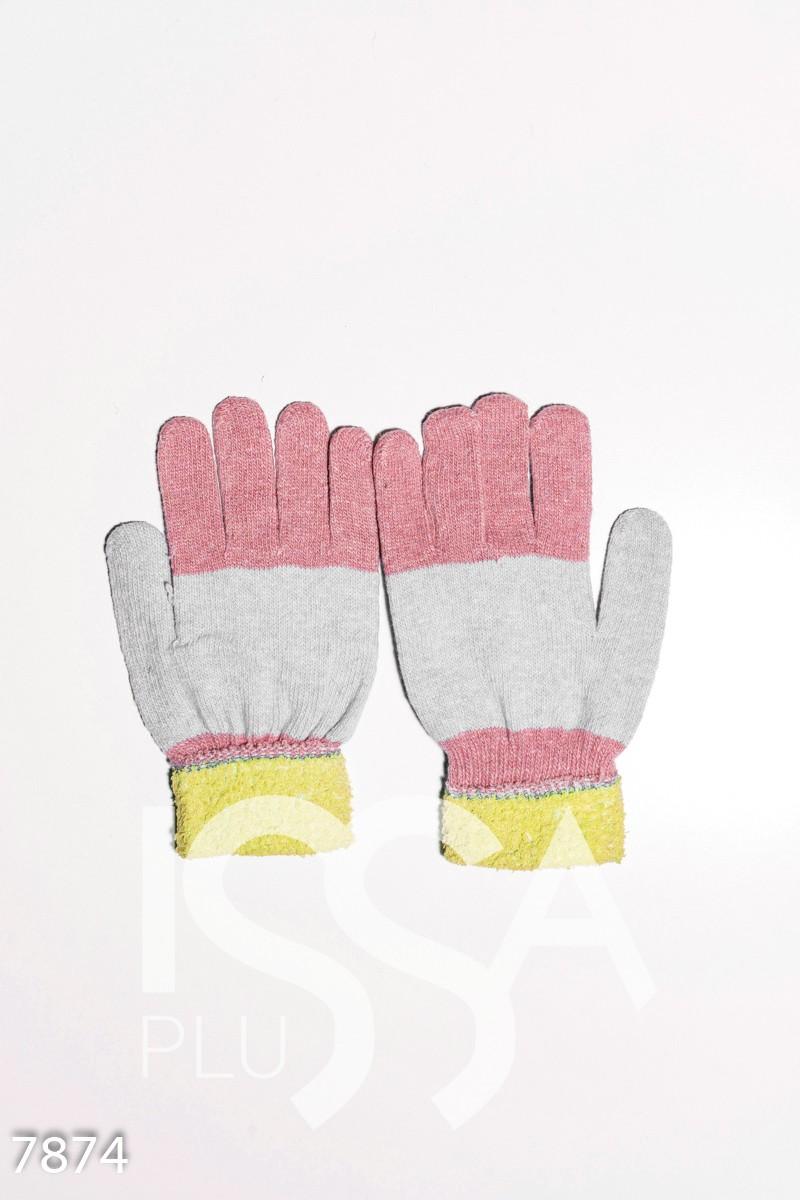 Желто-персиковые шерстяные однослойные перчатки с объемной аппликацией