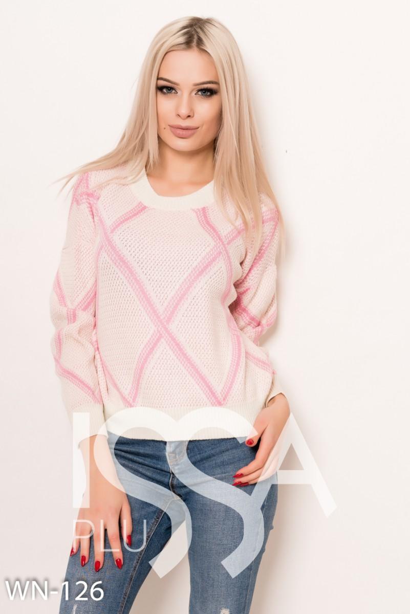 Бело-розовый  вязаный оригинальный свободный свитер