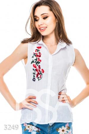 Купить белую рубашку женскую с вышивкой